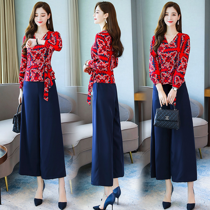 Loose Pants WOMEN'S Suit 2019 Autumn Clothing New Style Fashion By Age Slimming Elegant Nobility Ladies' Style Two-Piece Set