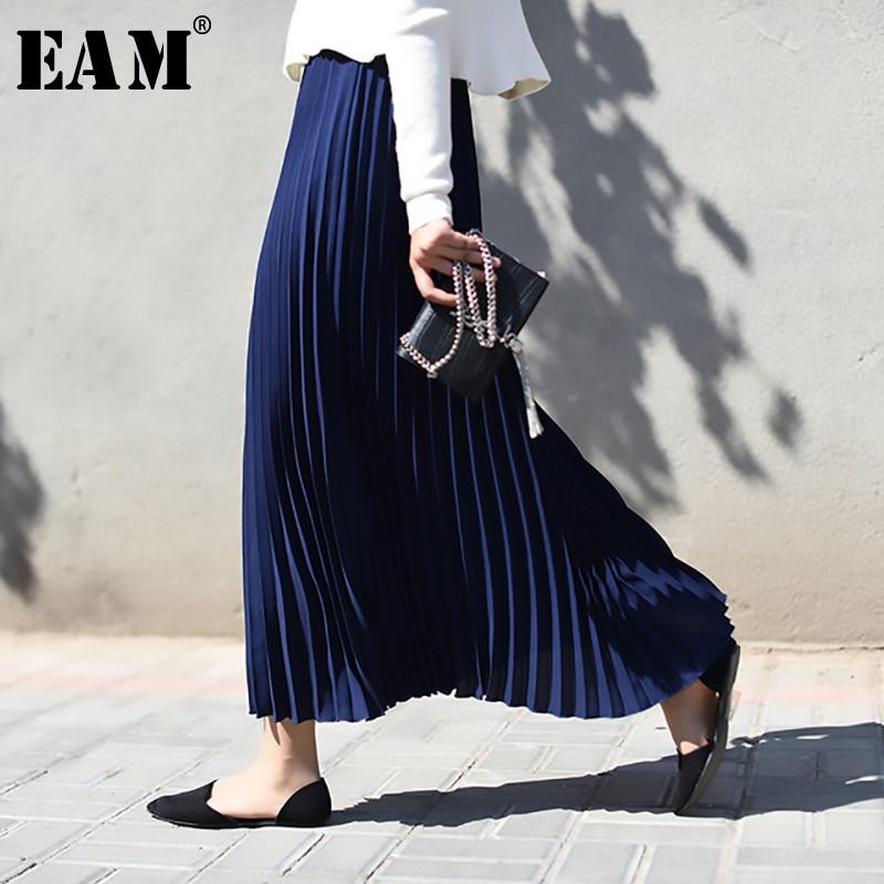 [EAM] High Elastic Waist Pleated Loose Fit Long Half-body Skirt Black Women Fashion Tide All-match New Spring Autumn 2020 1A531