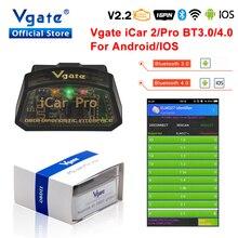 Vgate ELM327 v2.2 iCar Pro obd2 Bluetooth 4.0 pour Android/IOS OBD 2 iCar2 voiture diagnostic scanner adaptateur OBDII lecteur de Code automatique