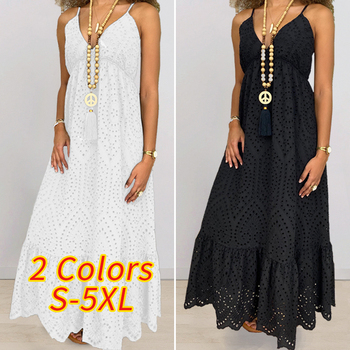 VONDA Summer Sleeveless Dress 2020 Women Sexy V Neck Solid Color Long Dresses Plus Size White Beach Sundress 5XL Party Vestidos vonda summer dress 2020 women sexy ruffled neck sleeveless tank mini dresses plus size bohemian party robe femme vestidos