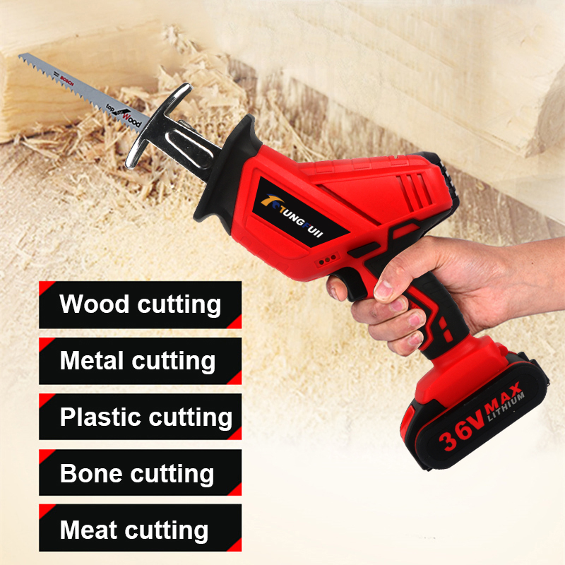 36VF Cordless Reciprocating Saw Saber Saw Portable Electric Saw for Wood Metal Plasitic Pipe Cutting Power Saw Tool