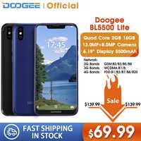 DOOGEE BL5500 Lite U-Kerbe Smartphone 6,19 zoll MTK6739 Quad Core 2GB RAM 16GB ROM 5500mAh dual SIM 13,0 MP Android 8,1