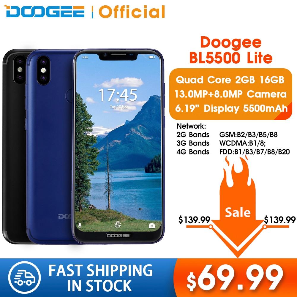 DOOGEE BL5500 Lite U-Notch Smartphone 6.19 Inch MTK6739 Quad Core 2GB RAM 16GB ROM 5500mAh Dual SIM 13.0MP Android 8.1