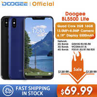 DOOGEE BL5500 Lite U-Notch Smartphone da 6.19 pollici MTK6739 Quad Core 2GB di RAM 16GB di ROM 5500mAh dual SIM 13.0MP Android 8.1