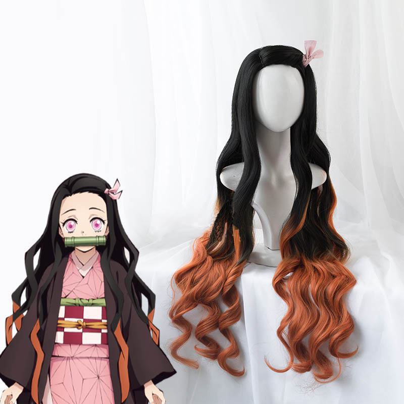 Demon-Slayer-Kimetsu-no-Yaiba-Nezuko-Kamado-Cosplay-Wig-100cm-Wavy-Heat-Resistant-Hair-Cosplay-Costume