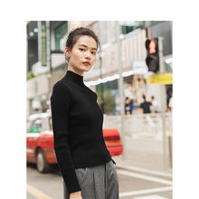 INMAN Winter Solid Ribbing Collar Slits Slim Knitted Warm Women Pullover