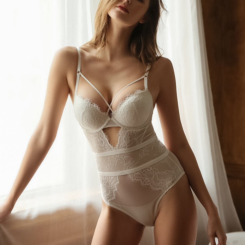 Sexy Lace   Bustiers   With Bra Underwire Push Up   Corsets   Underwear Teddy Lace Transparent Bodysuit with Cup Women Lingerie