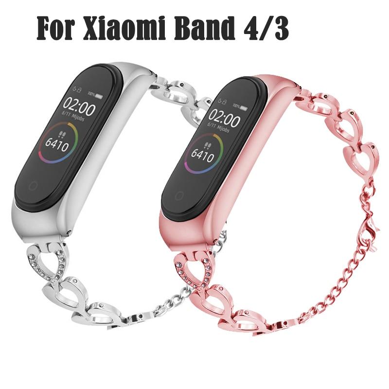 Smart Wrist Band For Xiaomi Mi Band 3 4 Bracelet Strap Woman Gift MiBand 4 3 Strap Metal Bracelet Stainless Steel Wrist Strap