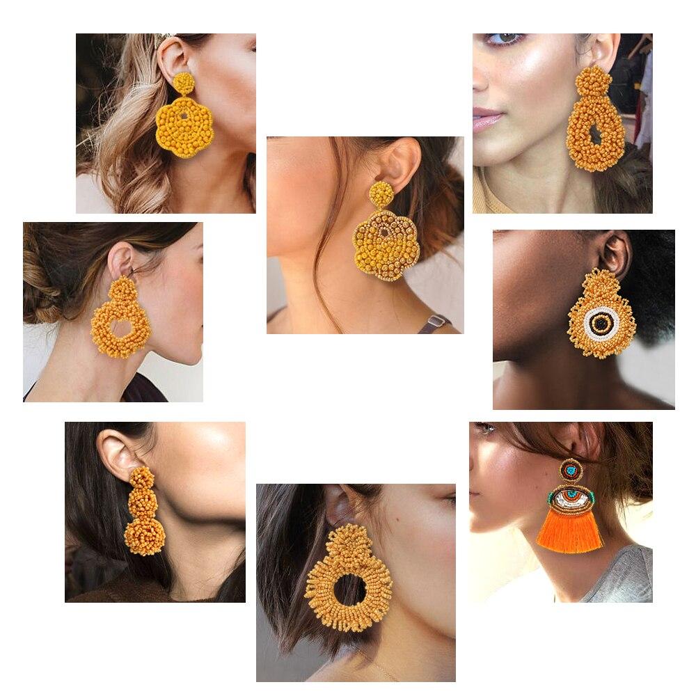 ROYALBEIER Bohemian Large Beaded Drop Earrings Yellow Tassel Earring for Wedding Jewelry Party Gift Bridal Bijoux Accessory