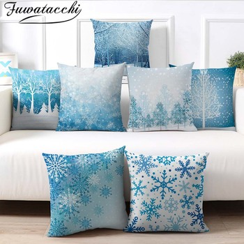 Fuwatacchi Deer Tree Pillows Cover Winter Style Cushion Cover Christmas Pillow Case Snow Throw Pillows Home Decor for Sofa Car fuwatacchi cute dog print cushion cover animal dog cat decor pillow case sofa home decoration accessoriesthrow pillows cover