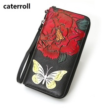 genuine leather women purse luxury brand wallet female long clutch money bag real leather ladies wallets and purses