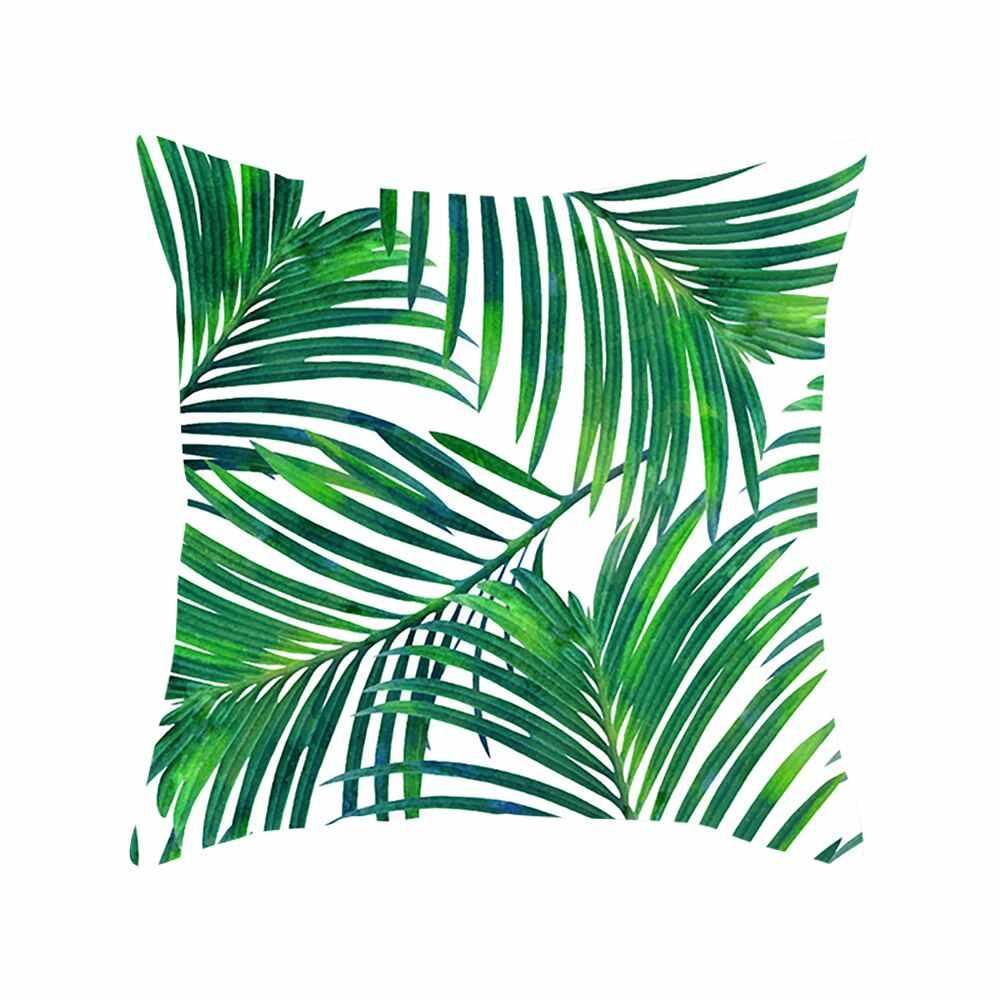 สีเขียวใบรูปแบบการพิมพ์ปลอกหมอน Tropical Plant หมอนโพลีเอสเตอร์หมอนสำหรับตกแต่งบ้าน 45 ซม.x 45m