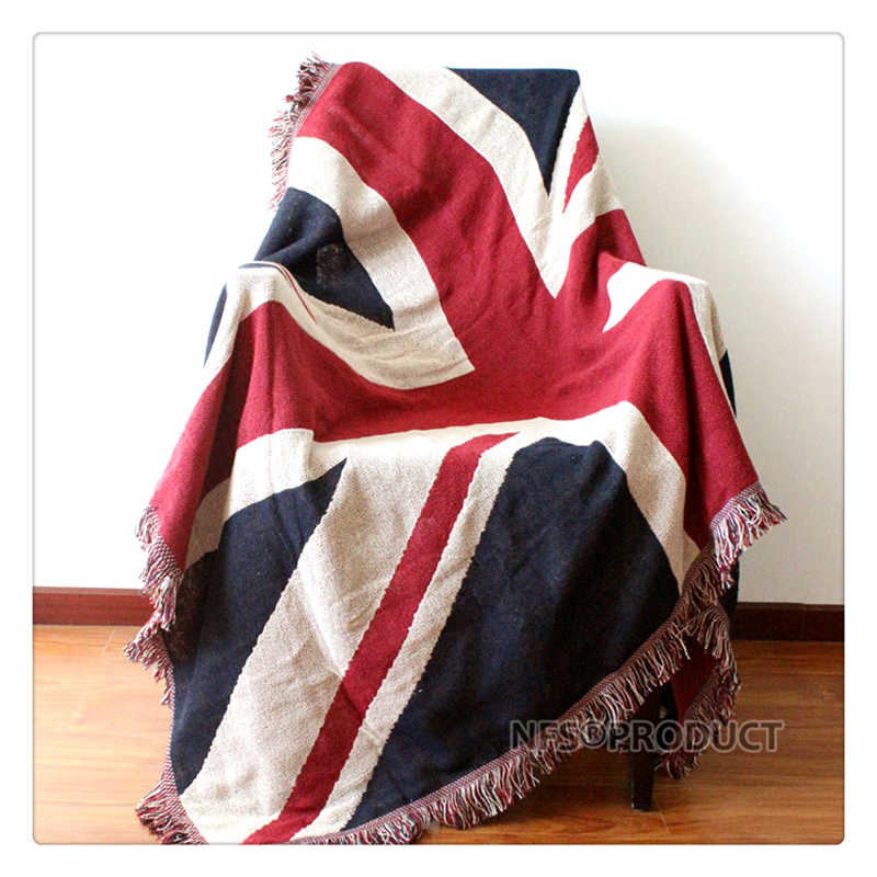 130x180cm Sofa Blanket Cotton Fabric UK & USA Flag Design Knitted Bed Spread Couch Covering Quilt Throws With Tassels 2