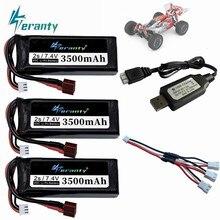 Atualizado 2s 7.4 v 3500mah wltoys 144001 bateria lipo carro para wltoys 1/14 144001 rc carro barco lipo bateria com carregador usb