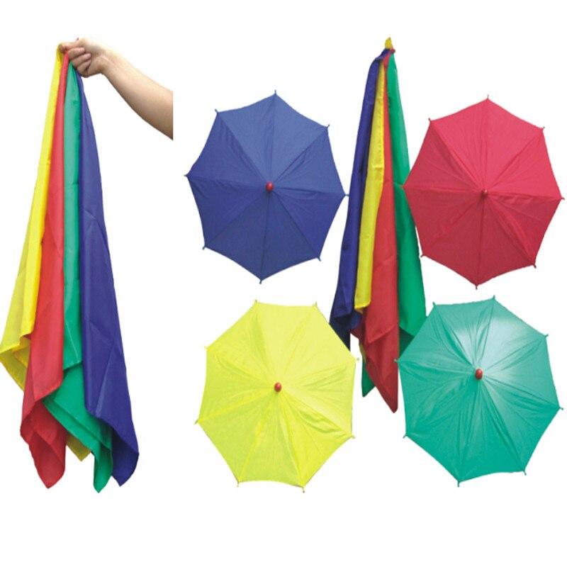 1 set soie à quatre parapluies tours de magie écharpes Magia scène Illusions Gimmick Prop drôle mentalisme magicien classique jouets