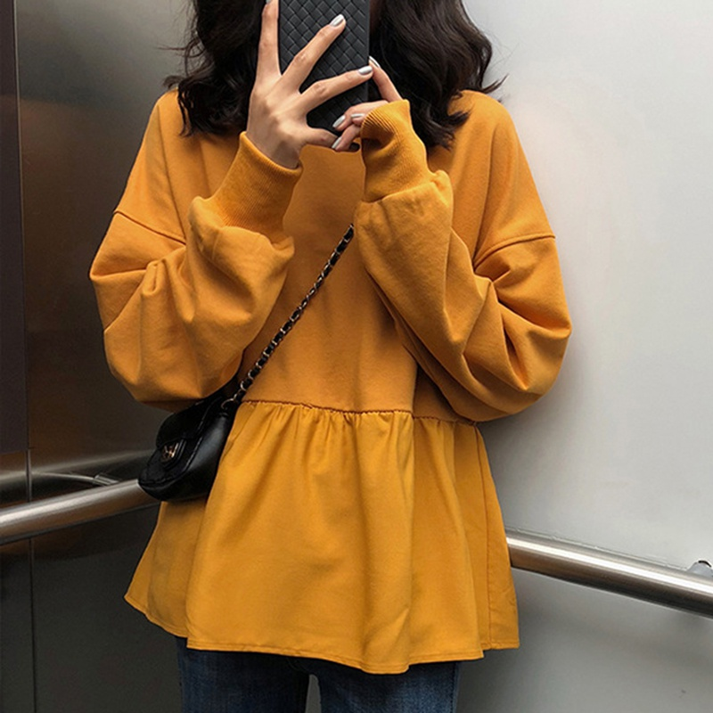 Fashion Hoodies Women New Autumn Casual Loose Thin Hoodie Solid Color Long-sleeved Sweatshirt Plus Size Pullover Tops