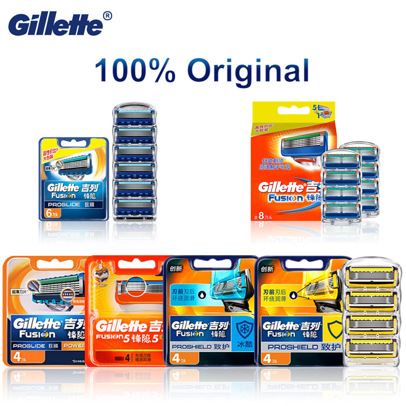 Original Gillette Fusion 5 Proglide Proshield Shaving Blades Safety Male Shaving Face Care Genuine Fusion Replaceable Blades