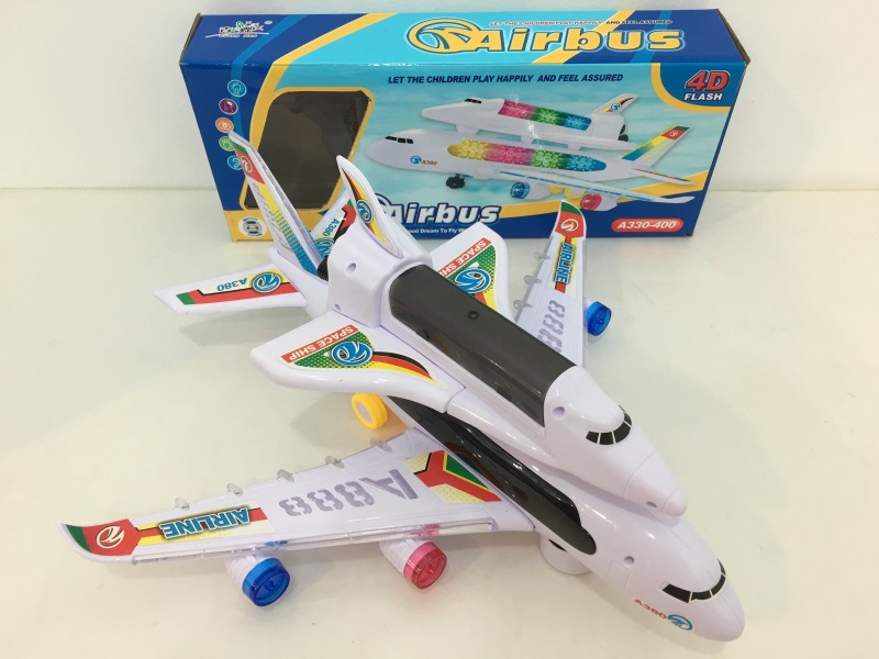 Electric Universal Space Shuttle Double Layer Music 3D Light Cool Air Bus Model Plane CHILDREN'S Toy