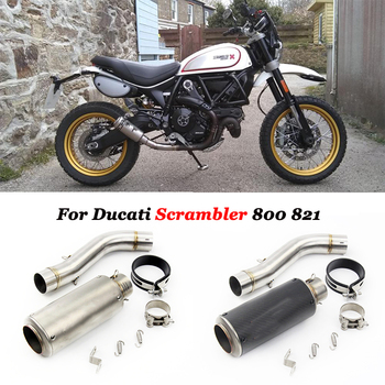 Full System Motorcycle GP Exhaust AR Carbon Muffler Escape Moto Modified Middle Link Pipe Slip on For Ducati Scrambler 800 821 slip on motorcycle exhaust tip system muffler escape tail middle mid link tube pipe for ducati monster 696 695 795 796 1100