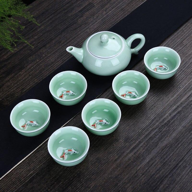 Tea Set Porcelain Chinese Kung Fu Teapot Set 6 Cups With Raised Koi Fish Vintage China Tea Sets Ceramic Tea Utensils Ceremony