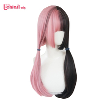 цена на L-email wig Pink and Black Lolita Wig Halloween 60cm Long Straight Cosplay Wig with Bangs Heat Resistant Synthetic Hair Perucas
