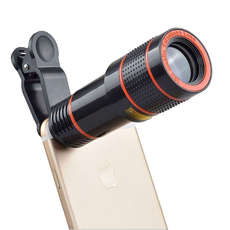 Universal frame 12X telephoto mobile phone lens focusing zoom telescope external HD camera 12 times for iphone All smart phones image