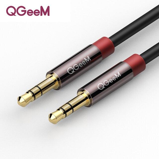 QGEEM AUX 케이블 자동차 아이폰 남성 남성 스테레오 오디오 케이블 3.5 잭 잭 3.5 AUX 자동차 케이블 헤드폰 비트 스피커