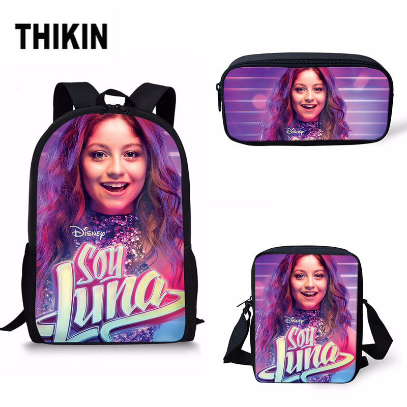 THIKIN Soy Luna Print Kids Boys Girls School Backpacks Superstar Fashion 3 PCS/SET Children Casual Book Bag Wholesale Mochila