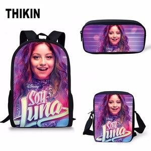 THIKIN Soy Luna imprimir niños niñas mochilas escolares superestrella moda 3 unids/set niños Casual bolsa de libros al por mayor