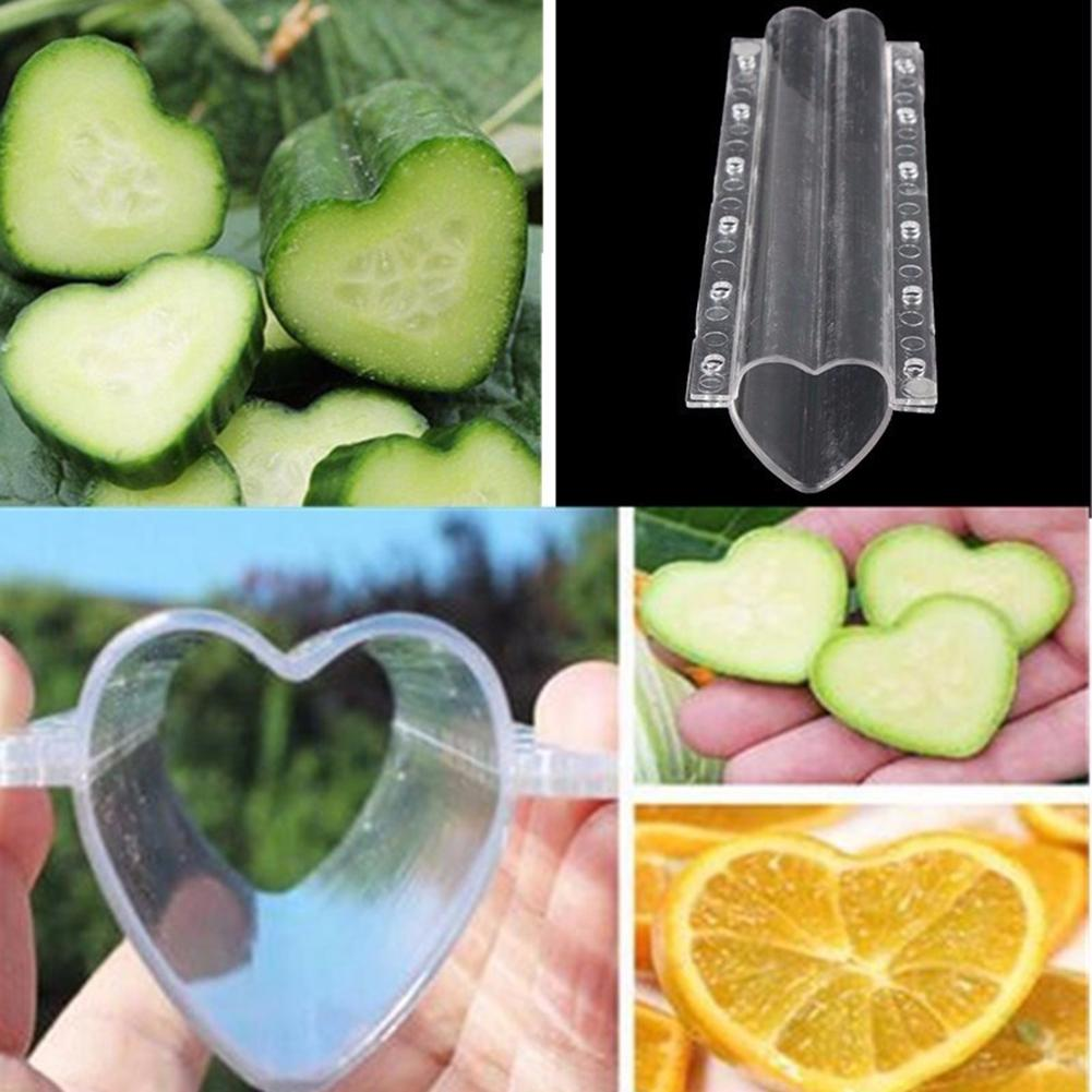 Clear Heart-shaped Garden Vegetables Cucumber Growth Forming Mold Shaping Tool