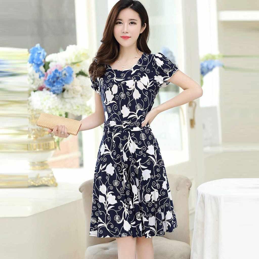 ドレス女性 vestidos ハロウィン M-3XL 2019 ropa の mujer ファッション O ネック膝丈半袖レトロ印刷プラスサイズドレス Z4