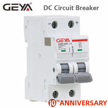 GEYA Din Rail DC MCB 6KA 2P 500V Mini Circuit Breaker DC 6A 10A 16A 20A 25A 32A 40A 50A 63A 2p 32a dc 440v circuit breaker mcb