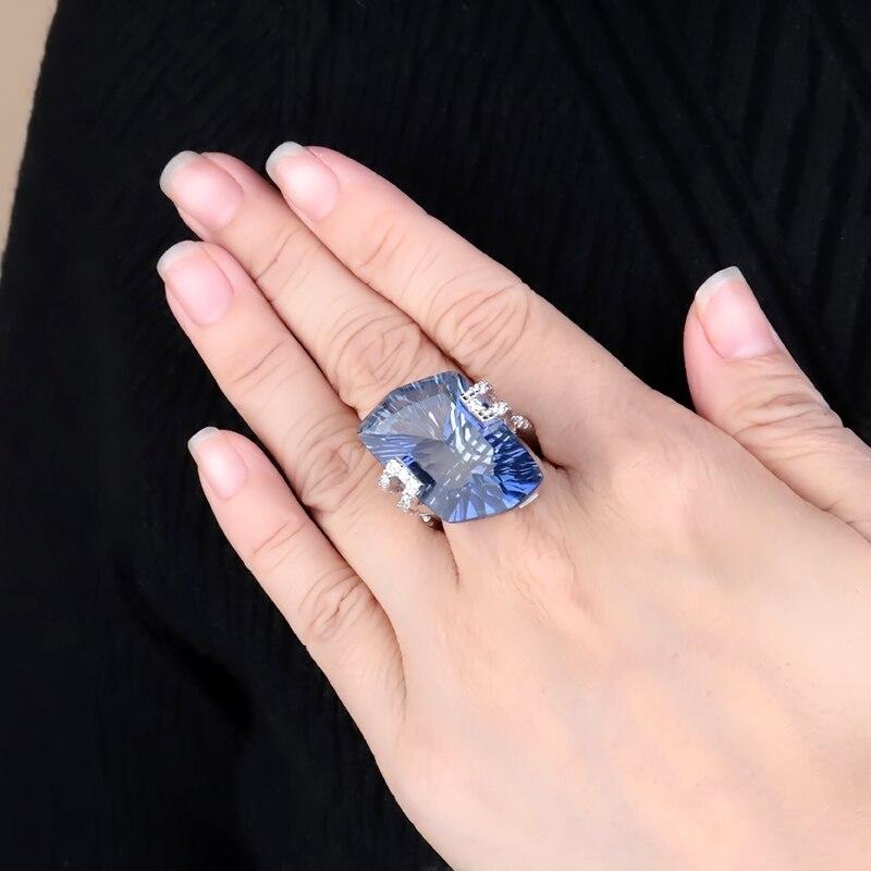 Image 2 - Женские коктейльные кольца gembs BALLET 21.20Ct, Natura Iolite,  голубой мистический кварцевый камень, стерлингового серебра 925  пробыКольца