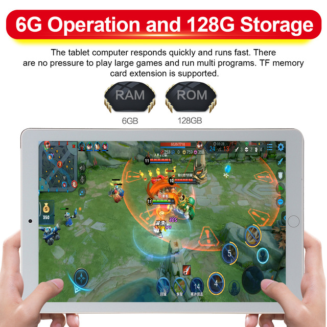 NEW Upgraded Android 9.0 Tablet 10.1 Inch  6G+128GB Wifi Tablet Dual Sim Card Call Phone Bluetooth Game Tablet for Kids 5