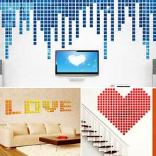 100Pcs Square Shape Removable Mirror Effect Wall Sticker Mosaic Room Decal Decor 100pcs small cubes mosaic squares mirror wall sticker