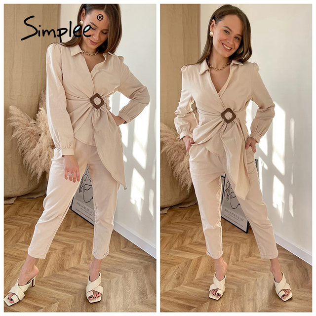 Simplee Casual spring solid wrap women sets office lady V-neck long sleeves two piece set female Elegant cotton sash suits slim 3