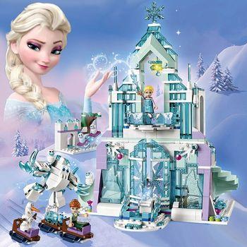 New Disney Frozen 316pcs Elsa Anna  Ice Castle Model Doll Building blocks Playset Action Figure Kid Toy Compatible with Legoings lepin elsa anna ice dream romantic castle 25002 model building blocks cinderella princess castle 25006 city set legoings friends