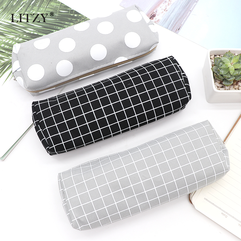 Concise Solid Black Pencil Case for Girls Boys Student School Pencil Bag Canvas Pencil Box Pencilcase School Supplies Stationery