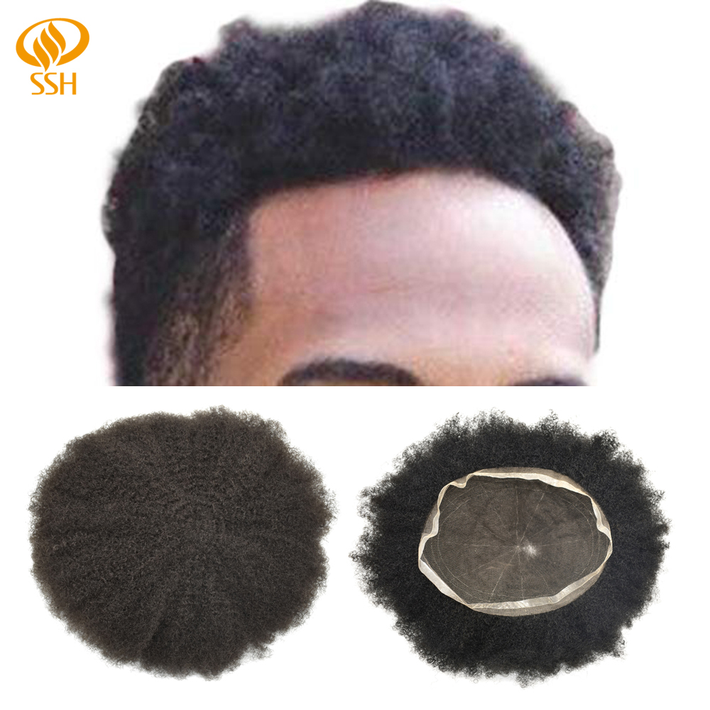 SSH  Remy Hair Afro Curl Mens Toupee Full Poly African American Hairpieces Dark Brown Hair Wigs