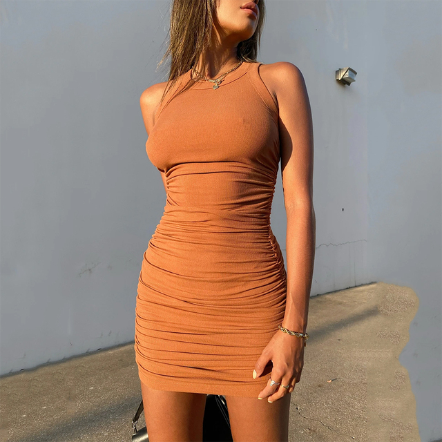 Women Solid Sleevess Dress Summer Casual Fashion Ruched One Piece Dress Stylish Stretchy Dress Sexy Bodycon Party Clothes 6