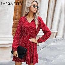 Женское платье в горошек everafter осенне зимнее с v образным