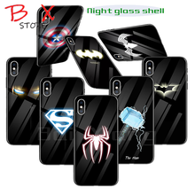 Marvel Luminous Glass Phone Case For iPhone X XS MAX XR 6 6s 7 8 Plus Back Cover Case For Samsung Galaxy S8 S9 S10 Plus Note 8 9
