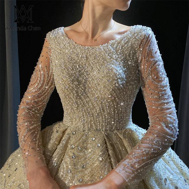 Luxury Lace Rhinestone Crystal Beading Handwork Wedding Dress 2022 1