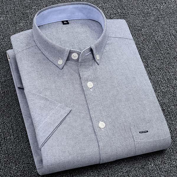 Men's Summer Pure Cotton Oxford Shirts Casual Slim Fit Design Short Sleeve Fashion Male Blouse Shirt 9