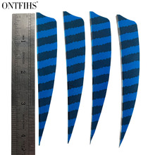 36 Pcs ONTFIHS 4 Inch Real Turkey Plum Drop Shape Striped Arrow Feathers Hunting Archery Accessories Gameit Recurve Bow