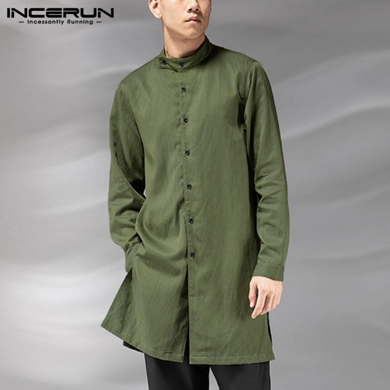 INCERUN Vintage Shirt Men Button Up Long Sleeve Stand Collar Muslim Kaftan Cotton Solid Color Men Indian Clothes Long Shirt 2020