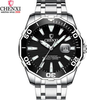 цена на Luxury CHENXI Business Men Watch Silver Stainless Steel Black Casual Watch for Men Big Dial Waterproof Fashion Dress Wristwatch