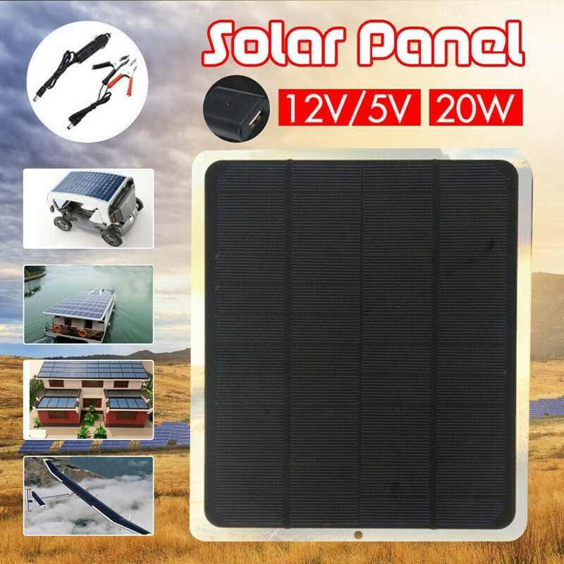 20W Solar Panel 12V / 5V Battery Charger for Rv Boat Car Home Alligator Clip