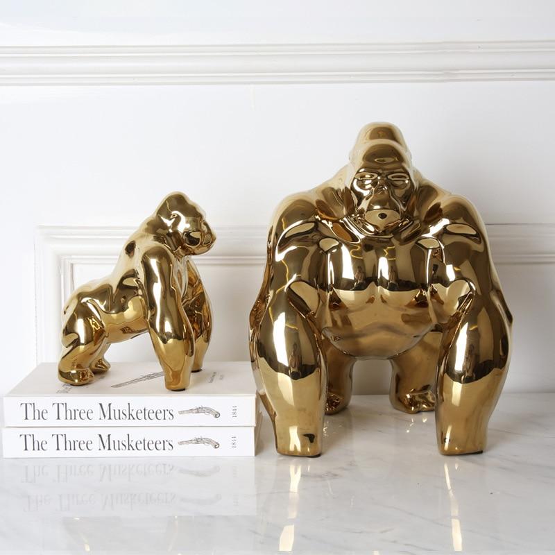 Modern Simple Creative Ceramics Orangutan Art Sculpture Gold Plating Gorilla Statue Ceramics Craft Decorations For Home R3819