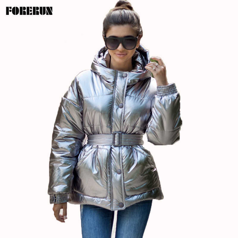 Glossy Silver Winter Jacket Women Winter Coat with Belt Cotton Padded Women's Bomber Jacket Hooded Abrigos Mujer Invierno 2019